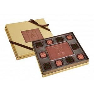 10-Pc Chocolate Truffle Box w/ Window & Belgian Chocolate Centerpiece